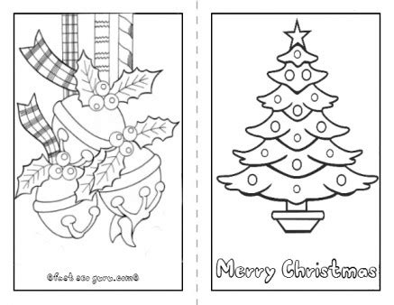 Printable Christmas Coloring Cards Happy Holidays Card Templates To Color