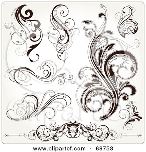 small scroll tattoos clipart illustration of a curly black and white scroll
