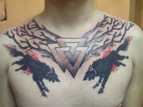 valknut tattoo on chest 25 great chest piece tattoos creativefan