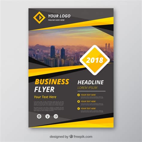 Grey And Yellow Business Flyer Template Vector Free Download Flyer Templates Vector