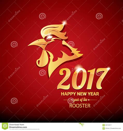 new year fortune rooster happy new year 2017 with golden rooster stock
