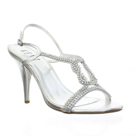 silver sandal heels for wedding silver diamante sandal knot strappy womens prom
