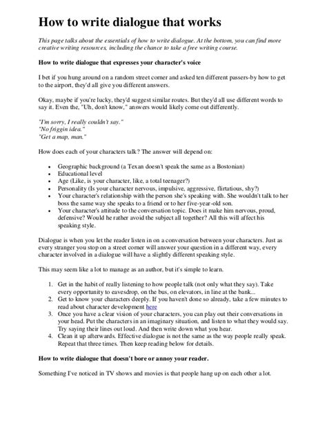 how to write a dialogue paper 17204 how to write dialogue that works