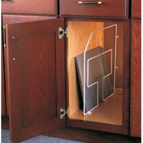 Cabinet Tray Dividers by Kitchen Cabinet Tray Dividers In White And Frosted Nickel