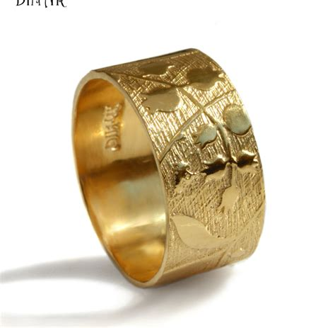 14k yellow gold wedding band wide wedding by