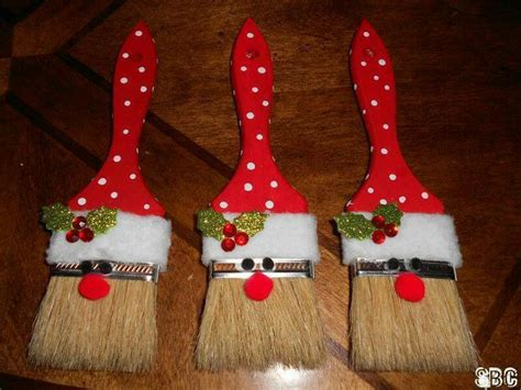 santa clause paint brush ornaments craft ideas