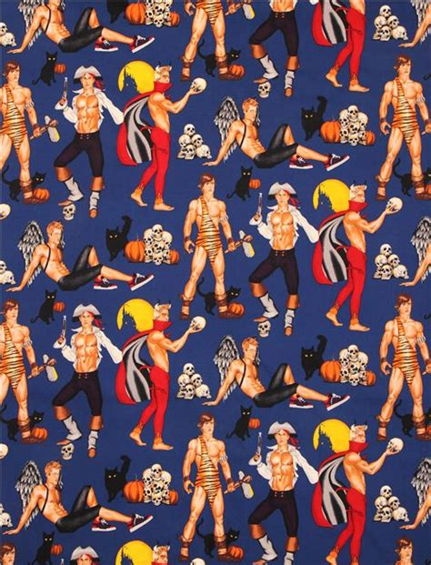 alexander henry upholstery fabric blue haunting hunks pin up halloween fabric alexander