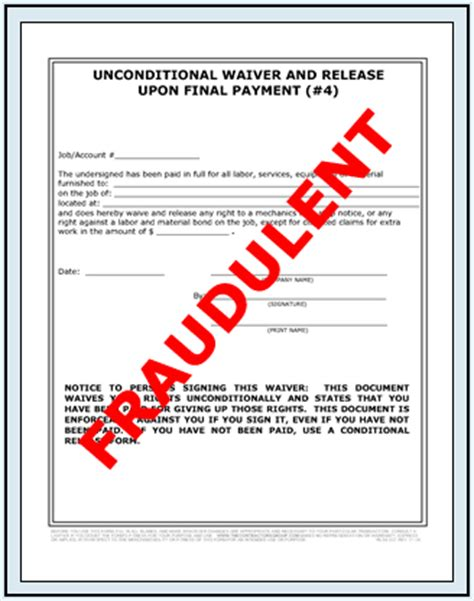 Lien Release Letter From Bank Fraudulent Lien Waiver Release Forms