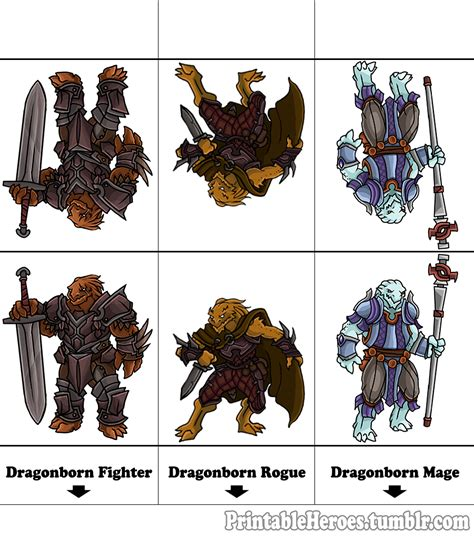 printable heroes printable heroes here s the full dragonborn set warrior