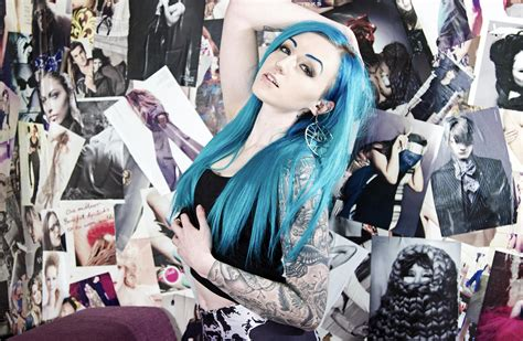 suicide girls tattoos blue hair on