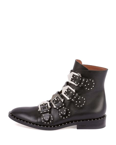 studded boots lyst givenchy studded leather ankle boot in black