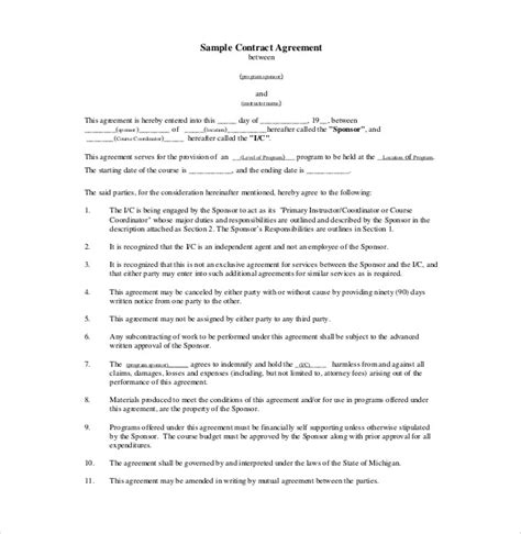 contract of agreement template 18 contract agreement templates free sle exle