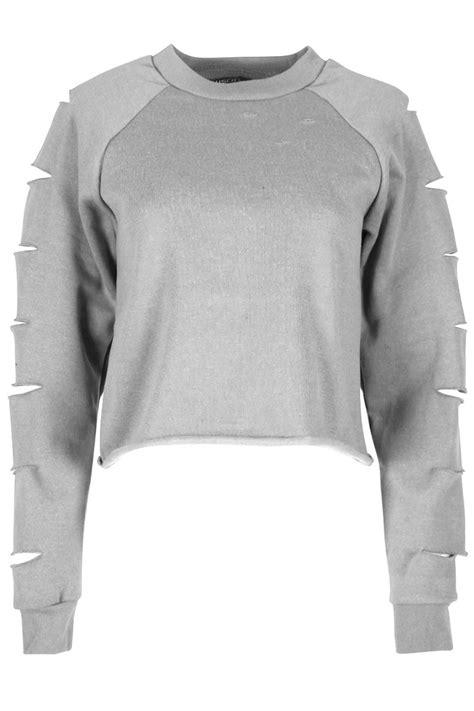 Hoodie Crop Polos Fleece Wanita Size M new womens sweatshirt lazer cut out ripped fleece