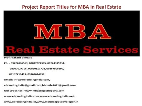 Mba In Real Estate Management In Dubai by Project Report Titles For Mba In Real Estate