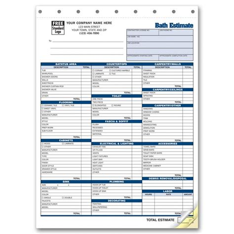 detailed labor and parts auto estimate forms 5537 at print