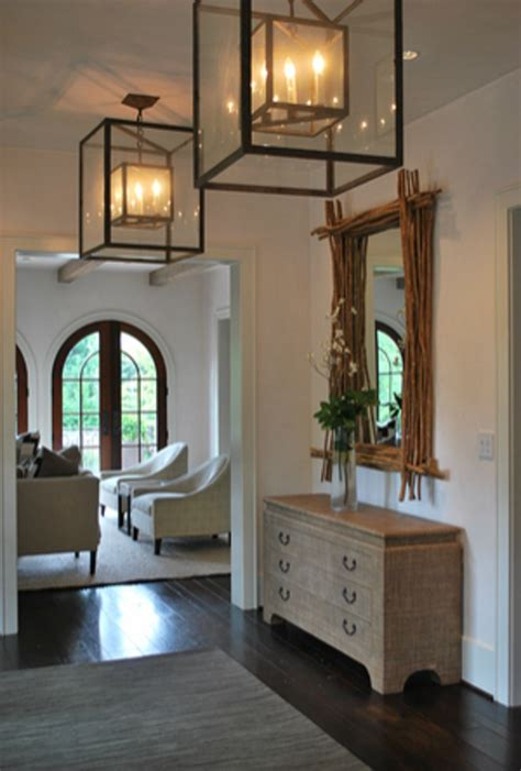 New Traditional A Clean Architectural White Foyer With Entrance Light Fixture
