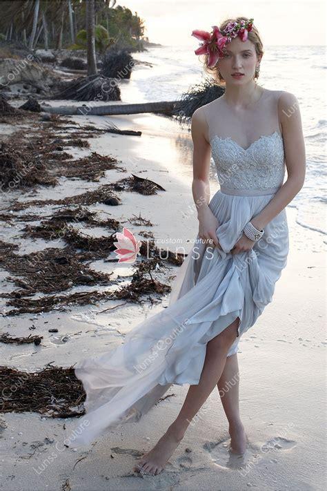 Popular Beach Wedding Dress Made of Chiffon and Beaded