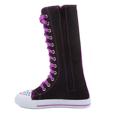 knee high lace up canvas boots sneakers shoes