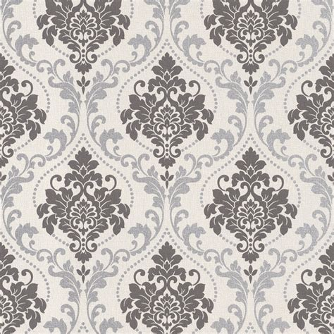 black and white royal wallpaper silver royal damask wallpaper walls republic