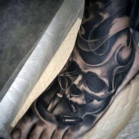 tattoo on foot for men skull and bullet foot tattoos best