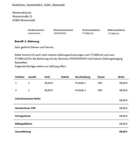 Letzte Mahnung Schreiben Muster 3 mahnung f 252 r freiberufler vorlage muster