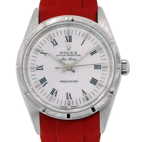 Rolex 14010 Air King Steel on Red Rubber Strap Watch