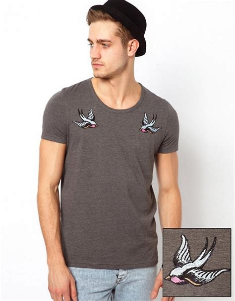 design t shirt on asos asos asos t shirt with embroidered swallow design
