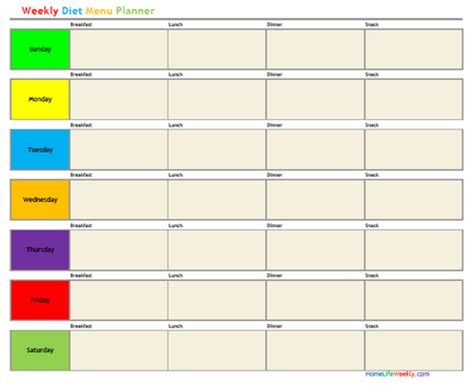 free printable weekly diet planner weekly diet menu planner 171 home life weekly