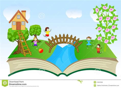 Foliage House Plant - open book with children and summer landscape stock vector image 41897858