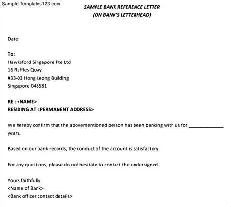 Reference Letter Bank Printable Bank Reference Letter Sle Templates