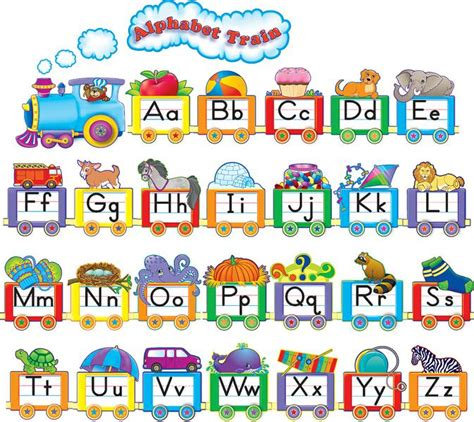 printable alphabet set bulletin board set alphabet train tcr4421