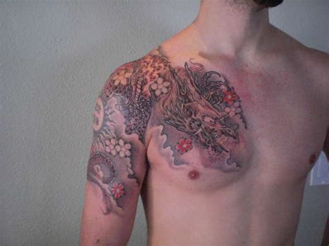 Quarter Sleeve To Chest Tattoo | dragon quarter sleeve chest tattoo