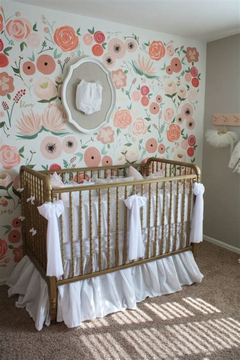 Wall Mural For Baby Room hand painted floral wall mural nursery project nursery