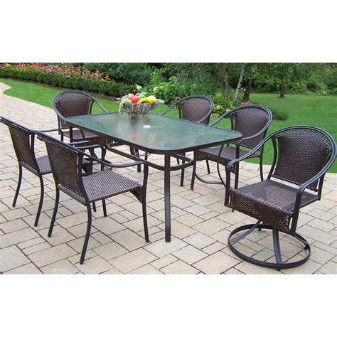 7pc Patio Dining Set Shop Oakland Living Tuscany 7 Glass Dining Patio Dining Set At Lowes