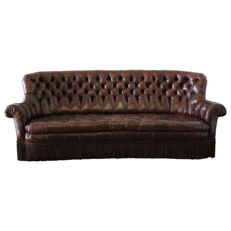Vintage Rich Brown Leather Chesterfield Sofa With Bullion Brown Leather Chesterfield Sofa