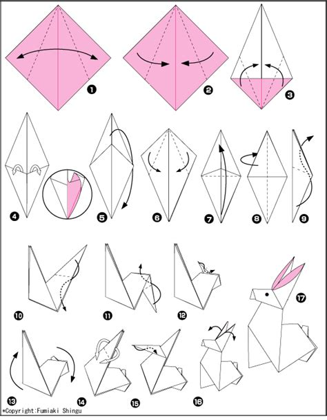 Origami Rabbit Diagram - origami rabbit diagram from paper to