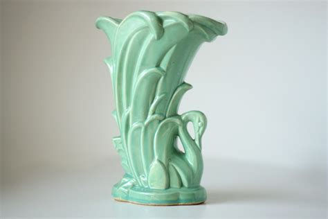 Mccoy Vases Value by Vintage Mccoy Pottery Aqua Swan Vase