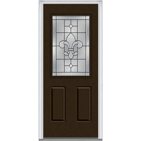 Milliken Millwork 33 5 In X 81 75 In Carrollton Decorative Glass Entry Doors