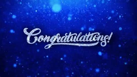 congratulations blue text wishes particles  invitation celebration background stock