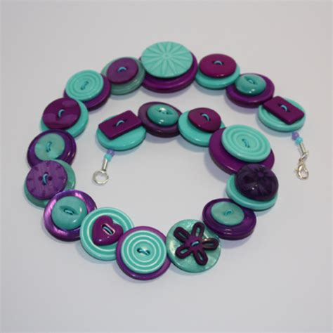 Handmade Button Jewellery - folksy buy quot purple and aqua green button necklace