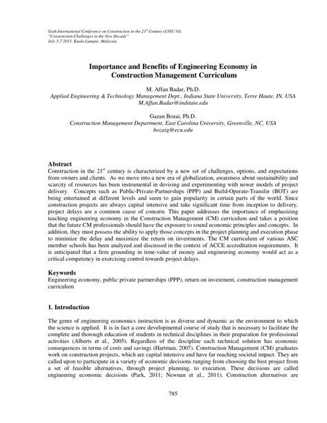 importance  benefits  engineering economy  construction management curriculum