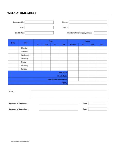 professional weekly timesheet template sle for your
