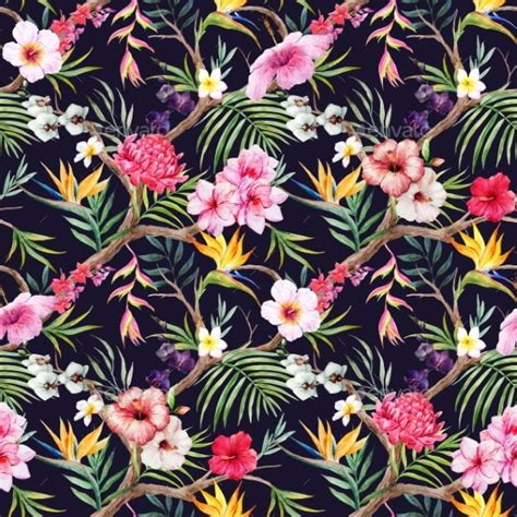 hawaiian floral pattern watercolor tropical floral pattern by zenina graphicriver
