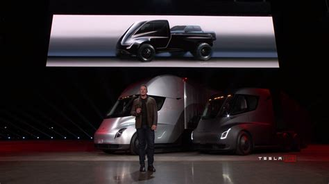 tesla truck tesla pickup truck shown during semi reveal