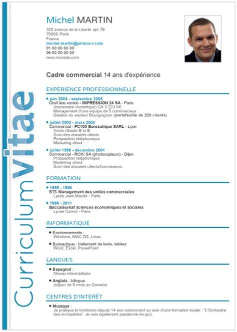 Présentation Lettre Commerciale Française Le Mod 232 Le De Cv Classique