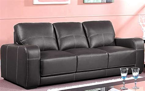 Sale Latina Large 3 Seater Black Square Arm Leather Sofa
