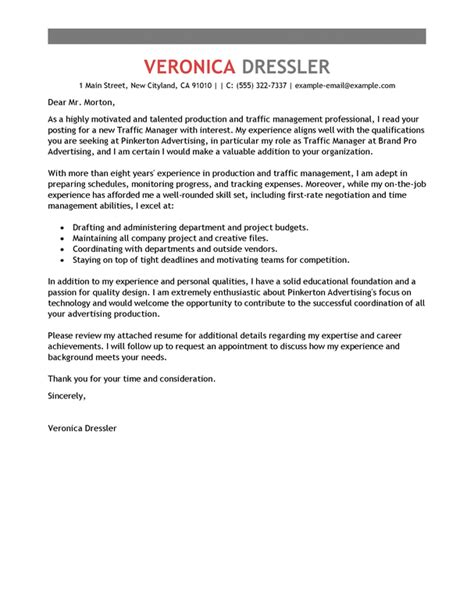 Traffic Assistant Cover Letter by Best Traffic And Production Manager Cover Letter Exles Livecareer