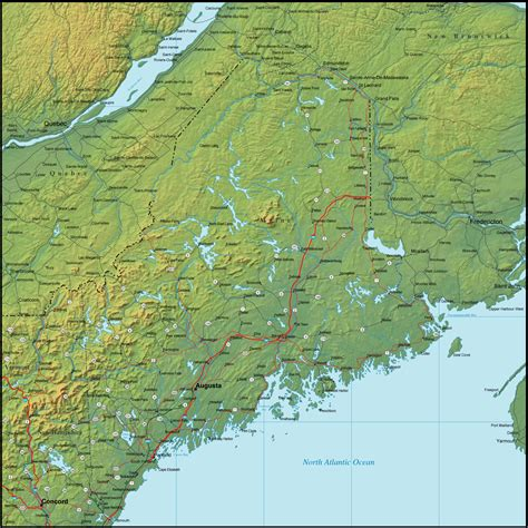 detailed map of maine map of maine and the surrounding region