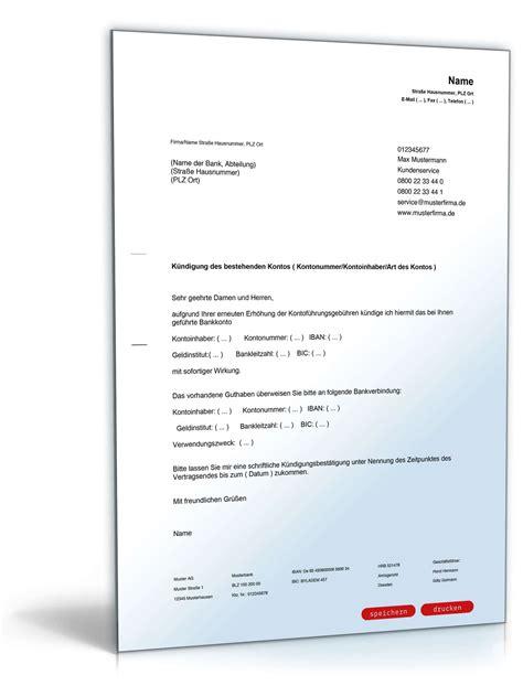 Mustervorlagen Briefe Vorlage K 252 Ndigung Bankkonto Konto Ing Diba Zinsen