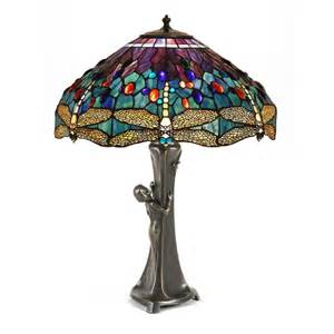 stained glass solar lights gurschner inspired table lamp with female figure amp tiffany